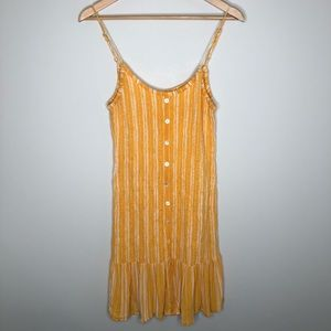 Patrons of Peace Yellow Striped Smocked Sundress M
